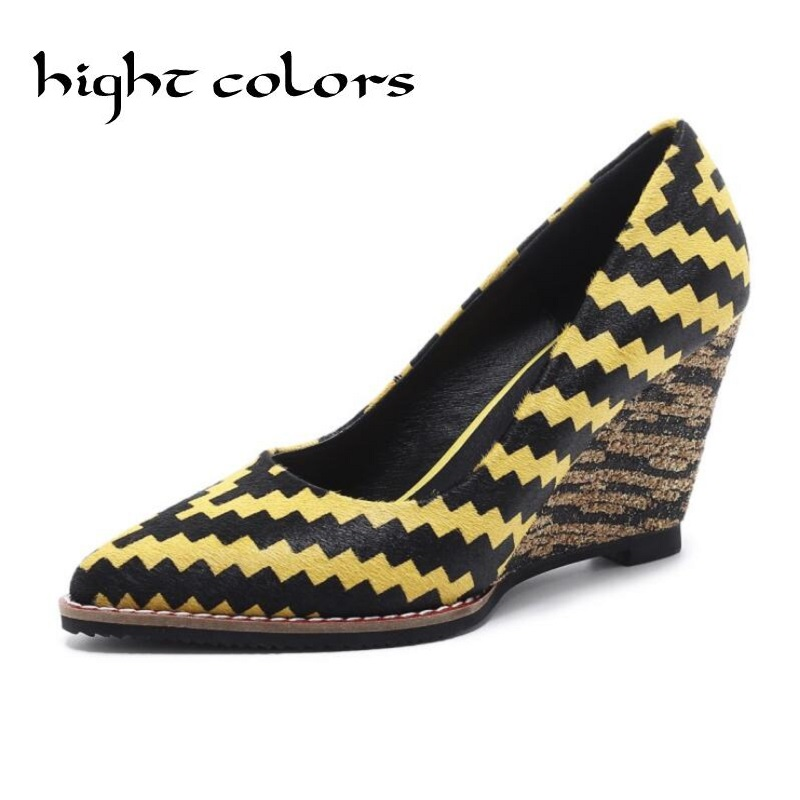 Red Yellow Horsehair Shoes Women Pointed Toe Slip On Women Pumps Casual Wedges Superstar Office Lady Beauty Increased Shoes fashion sheep suede tassel casual shoes square toe slip on women pumps wedges superstar flowers preppy style increased shoes l01