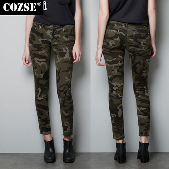 3c896ca5cd8 2016 New Women Casual Pants Autumn Slim Military Camouflage Uniform Jeans  Cargo Pants Trousers Hot Sale