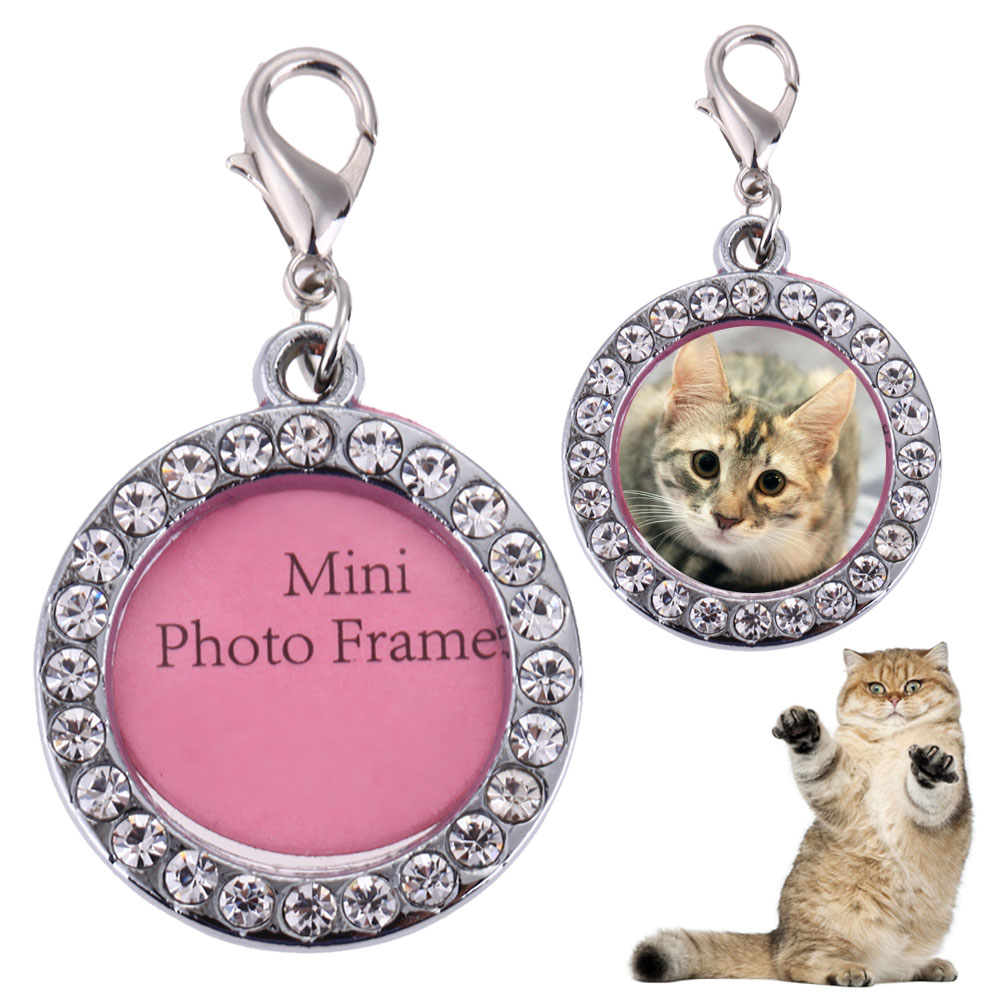 Pet Dog Round Shaped Alloy Name Card Anti Lost Dog ID Address Name Label Photo Frame Key Chain Information Card Pendants