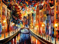 beautiful Painting Home Decor amsterdam night canal Colorful oil paintings Canvas Modern Fine Art High quality Hand painted