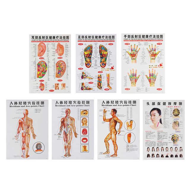 3 Pcs/7pcs Acupuncture Massage Point Map Chinese&English Meridian Acupressure Points Posters Chart Wall Map For Medical Teaching