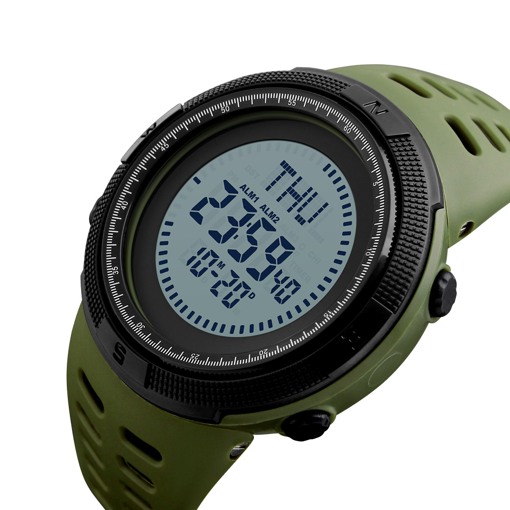 Diligent Skmei Brand Compass Watches 5atm Water Proof Digital Outdoor Mens Sports Watch Countdown Wristwatches Male Military Clock 1254 As Effectively As A Fairy Does Digital Watches Watches