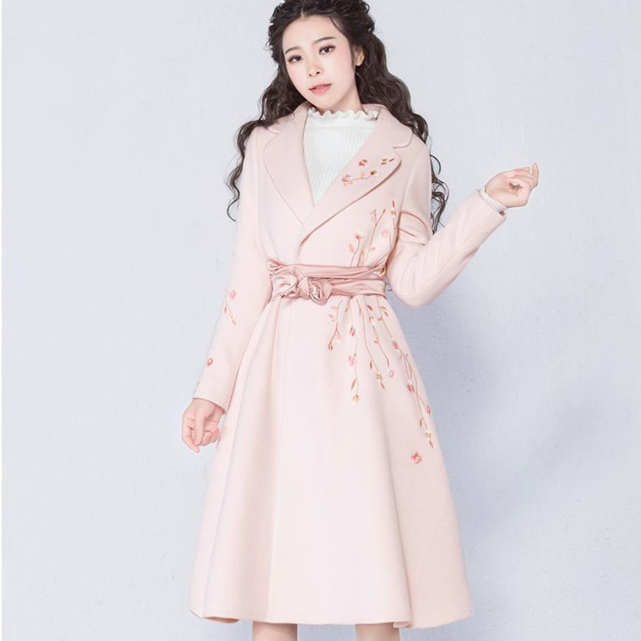 Light Manteau Femmes Vintage Hiver Laine À Brodé Mélanges Manches Taille Longues Pink Ceinturés Plus Rose Mince De Manteaux 3xl La zww4Uqrft