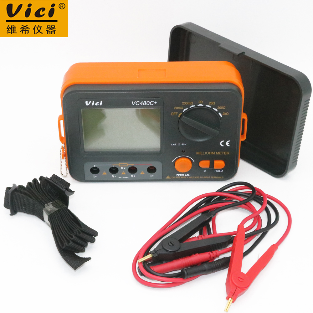 Vici VICHY VC480C+ 3 1/2 Digital Ohm Meter Milli-ohm Meter Resistance Tester 4 wire Test w/LCD Backlight 1 pair silicone wire universal probe test leads pin for digital multimeter needle tip multi meter tester probe 20a 1000v