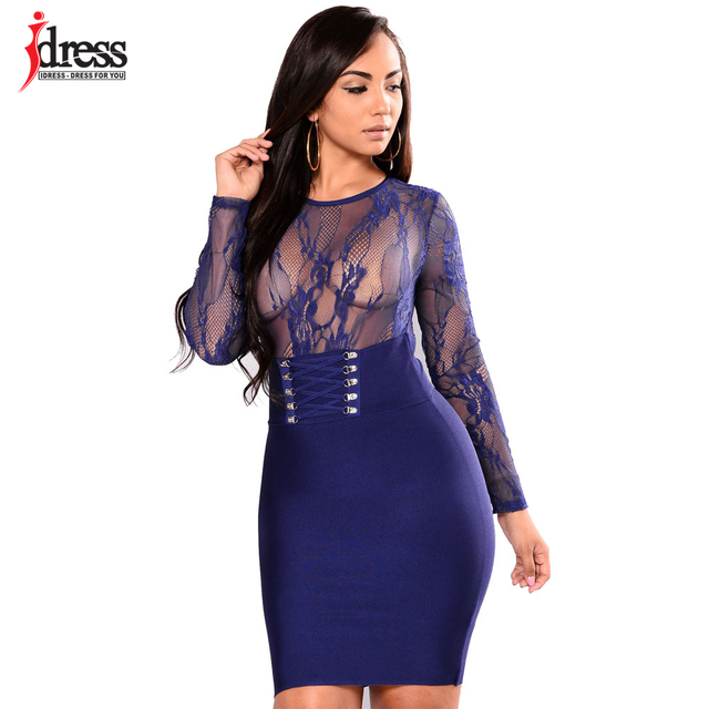ac4aaf6f70 IDress Club Factory Large Sizes Vintage Bodycon Midi Dress Long Sleeve  Vestitos Sexy See Through Bandage Vestidos Lace Dress