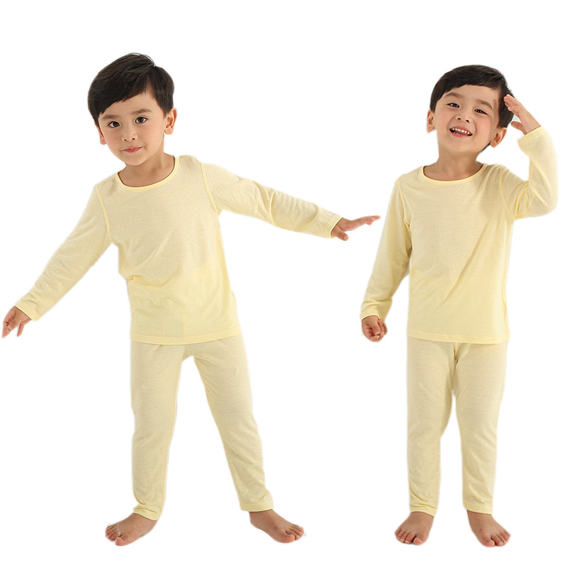 Children Clothing Boy   Pajamas     Set   Girls Bamboo Fiber Long Sleeve Breathable Suit Toddlers Homewear Kids Air Conditioning Clothes