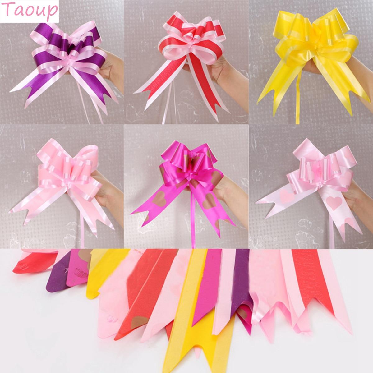 Taoup 10 шт. пряжа бант тянуть цветок ленты конфеты коробки Подарочная упаковка свадебный Декор Аксессуары для мероприятий вечерние ленты