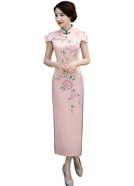 0e2adc015 Shanghai Story 2019 Floral Qipao Long Chinese Dress chinese style dress  Oriental dress Short Sleeve Cheongsam