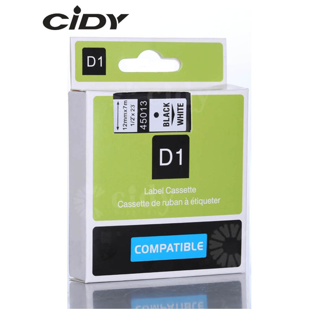 CIDY Compatible Dymo D1 12mm Label Tape 45013 Black on White Label Ribbons for Dymo Label Manager 160 280 210 free shipping compatible epson kingjim tape 12mm black on white ss12kw lc 4wbn lc 4wbn9 epson label tape for lw300 and lw400