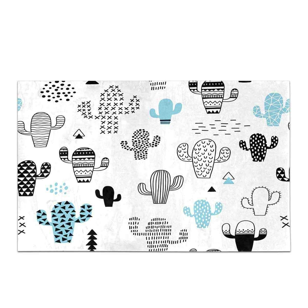 Bonita alfombra de cocina de Cactus dibujada a mano para piso baño dormitorio sala de estar alfombra