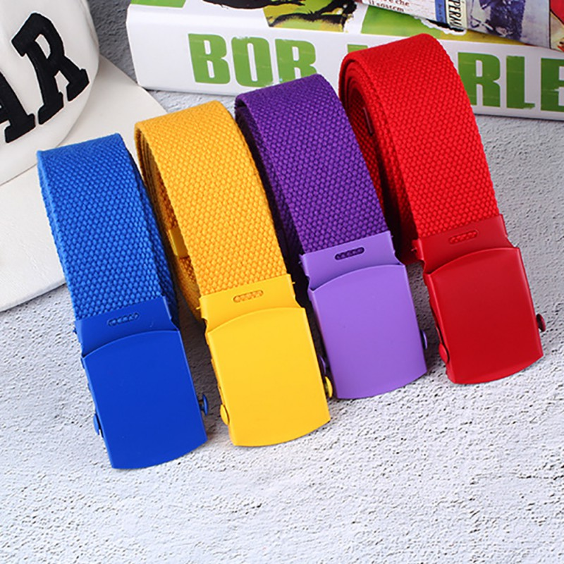 Unisex Casual Webbing Canvas Waist   Belt   Automatic Buckle Waistband Military Equipment Army   Belt   Practical Solid Color