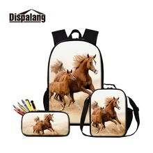 Dispalang Horse Backpack and Cooler Box Set Cool Animal School Bag Pencil Case for Students Children Rucksack Satchel Patterns dispalang cute ballet girls school backpack and lunch pouch set pretty bookbag insulated cooler bag for children pencil case kid