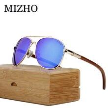 MIZHO Brand Design Eyewear Mirror HD Visual Protection Wood Sunglasses Men Polarized Pilot Traveling Luxury SunGlasses Unisex