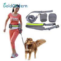 Running Jogging Walking Hands Free Dog Leash With Pouch Waist Bags Reflective Waist Belt Elastic Leash