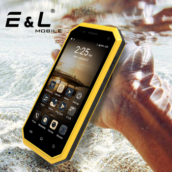 E&L W6オリジナル中国携帯電話アンドロイドip68防水耐衝撃電話タッチ電話ロック解除スマートフォン4 g携帯電話2017携帯電話