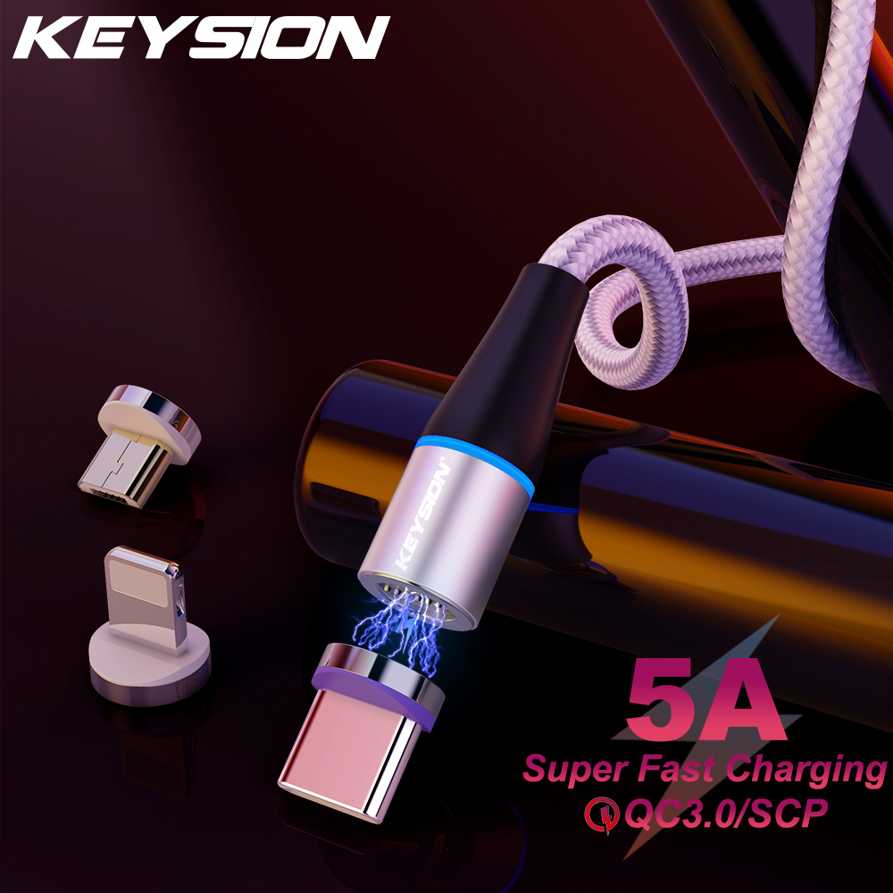 KEYSION 5A Magnetic Cable For iPhone Type C Magnet Charger Data Charging Charge Micro USB C Cable For Huawei Mobile Phone Cable