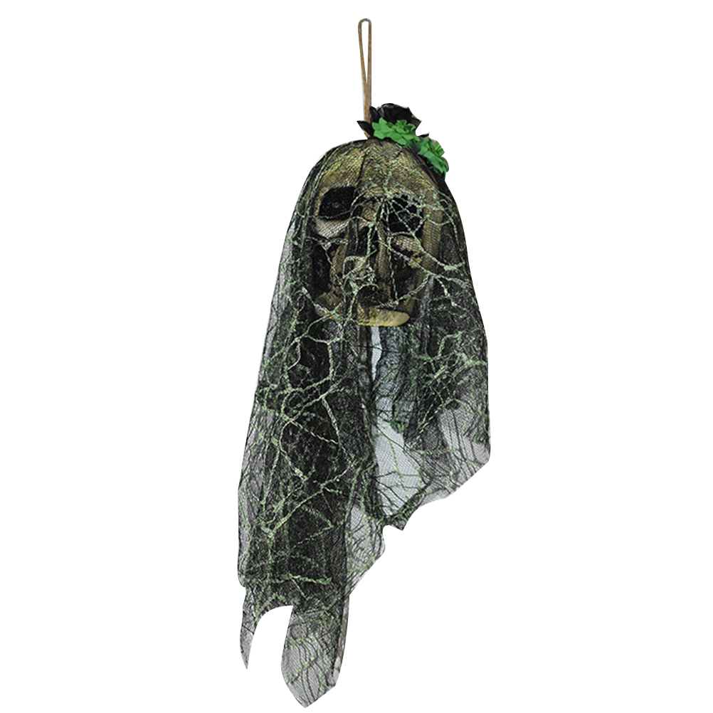Halloween skull decorations - Halloween Horror Props Haunted House Bar Ktv Decoration Ornaments Shiny Voice Skull Head Small Hanging Ghost