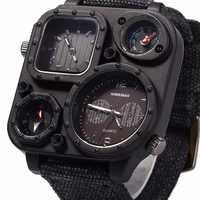 SHIWEIBAO J1169 Uhren Männer Große Zifferblatt Dual-Bewegung Sport Quarz Uhr Männer Military Kompass Leinwand Armbanduhren Relogio Masculino