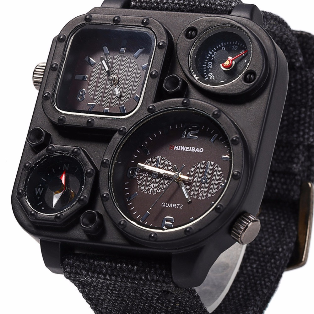 SHIWEIBAO J1169 relojes Dial grande de doble movimiento deportivo reloj de cuarzo hombres militares lienzo brújula Relogio Masculino