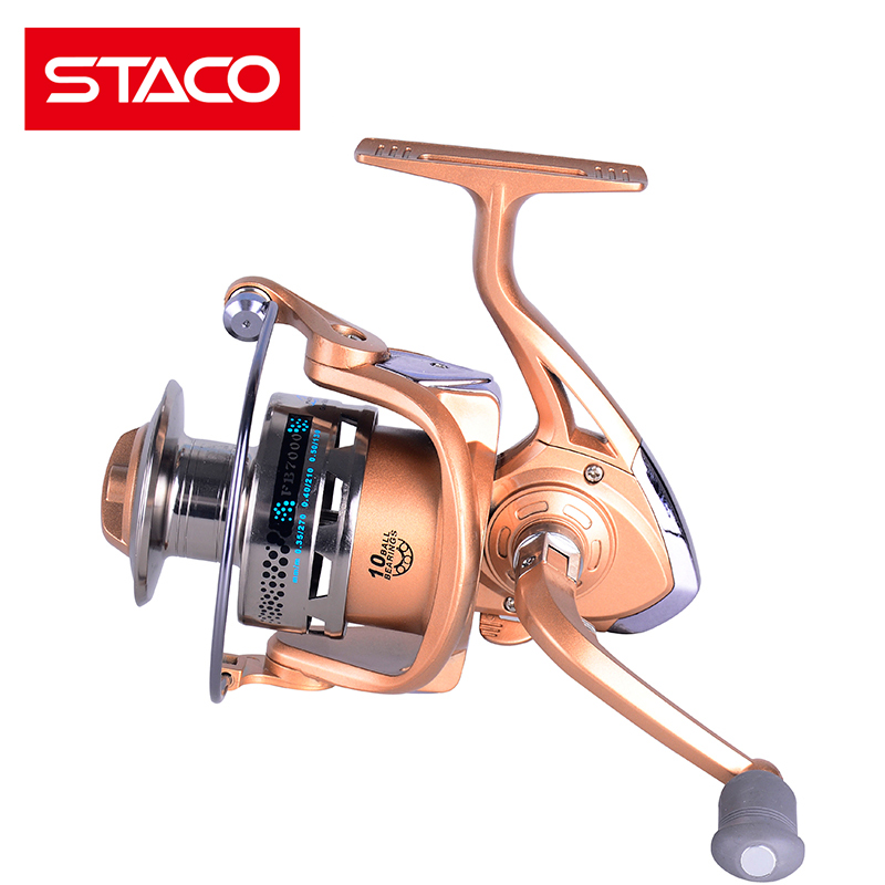 STACO Spinning Fishing Reel Casting Metal Seat Fishing Reel Saltwater 5.2:1 Handle Knob 1000-7000 Series Spining Reel For River