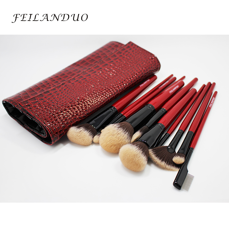 Image 3 - FEILANDUO 11pcs Professional Makeup Brush Set High Quality PBT Makeup Tools T004 Make Up Brushes Cosmetics Tool-in Eye Shadow Applicator from Beauty & Health