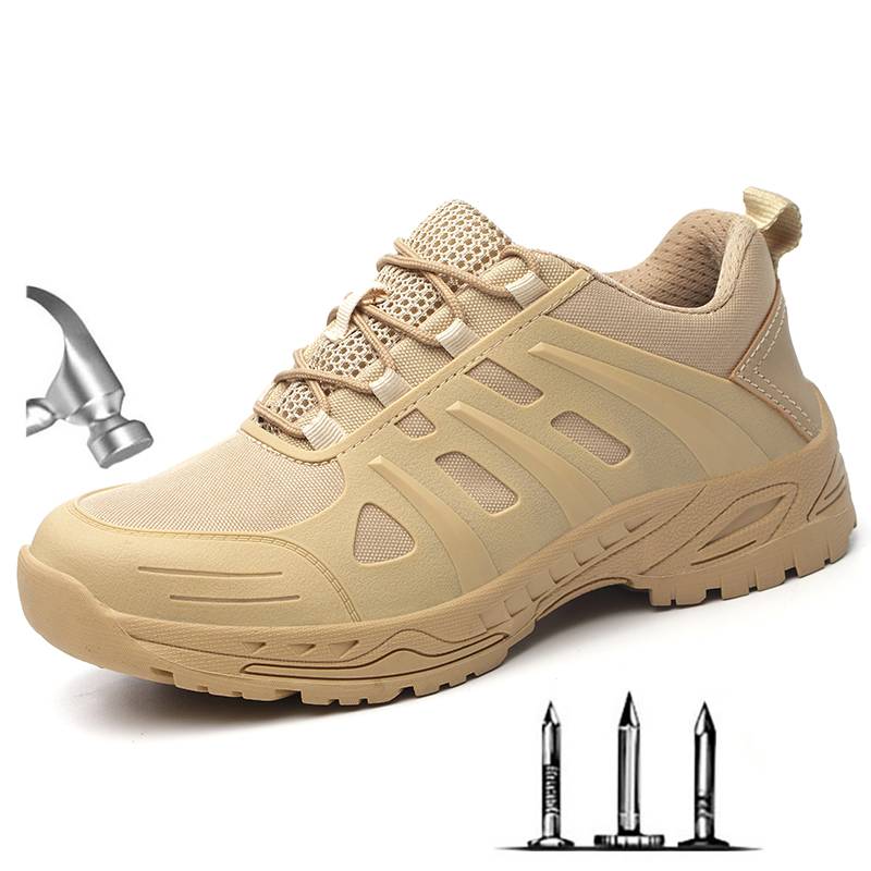 Summer Men's New Desert Steel Toe Anti Smash Work Shoes Boots Men Military Combat Army Puncture Proof Safety Shoes