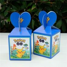 6 sztuk/worek pikach pudełko cukierków dekoracje na imprezę urodzinową dla dzieci zaopatrzenie firm urodziny jednorazowe zastawy stołowe zestawy