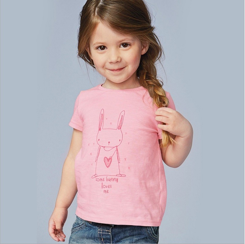 17 New Little Maven 1-6 Years Girls T-shirt Short Sleeve Animal Printing Children Tees Rabbit Cat Printing Kids Tops KF046-1 10