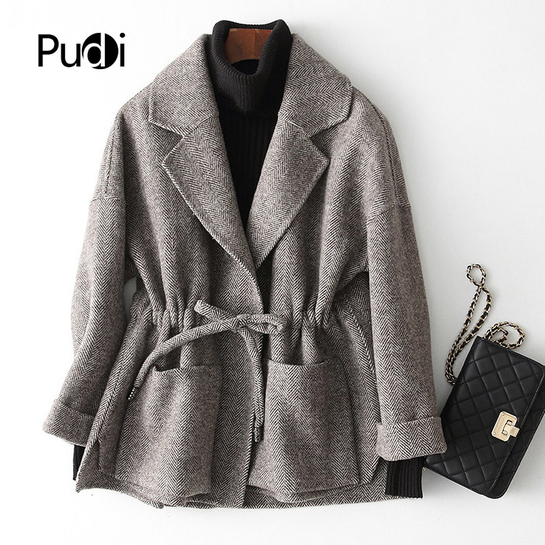 PUDI RO18101 2018 Women Fall Winter New Wool Herringbone Jacket With Long Style Pocket Leisure Coat
