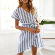 Summer Women Short Sleeve Dress Ladies V Neck Striped Dresses Bandage Holiday Beach Dress Vestidos