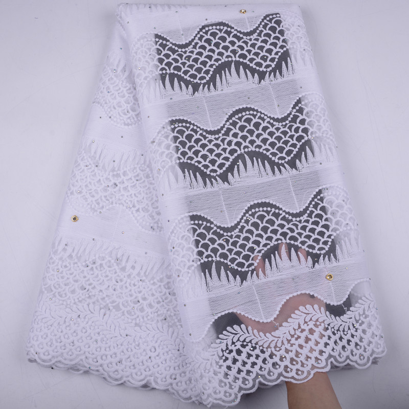 Кружевная ткань из французского молочного шелка, Высококачественная кружевная ткань из фатина со стразами для нигерийской свадьбы, A1504, 2019