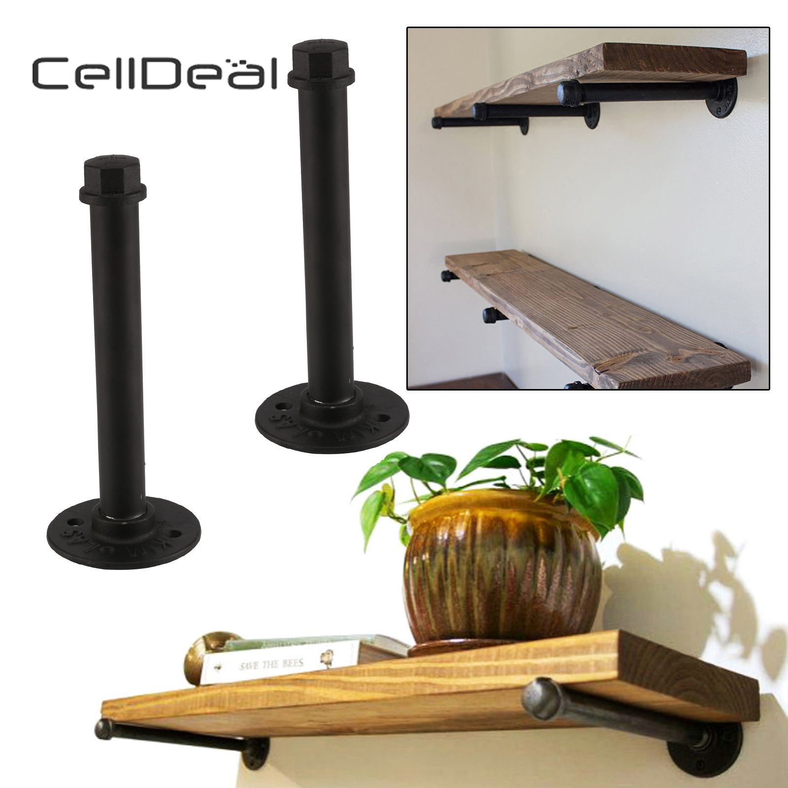 Pair of Industrial Pipe Bracket Heavy Iron Shelf Support Set Durable Flange Industrial Shelves Stand Up Desk Shelf Wood MetalPair of Industrial Pipe Bracket Heavy Iron Shelf Support Set Durable Flange Industrial Shelves Stand Up Desk Shelf Wood Metal