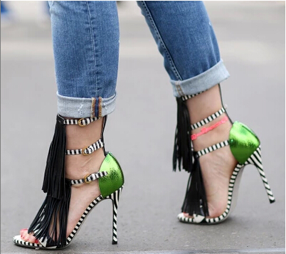 2015 Brand gladiator sandals women pumps faux suede tassel fringe strappy ankle strap sexy open toe striped high heel - Online Store 229201 store