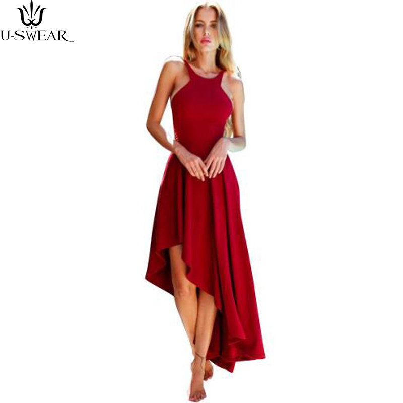 Fashion Sexy Women Halter dress Hem Irregular Party Dress Sleeveless Solid Color Comfortable Summer Dress Womens Vestidos