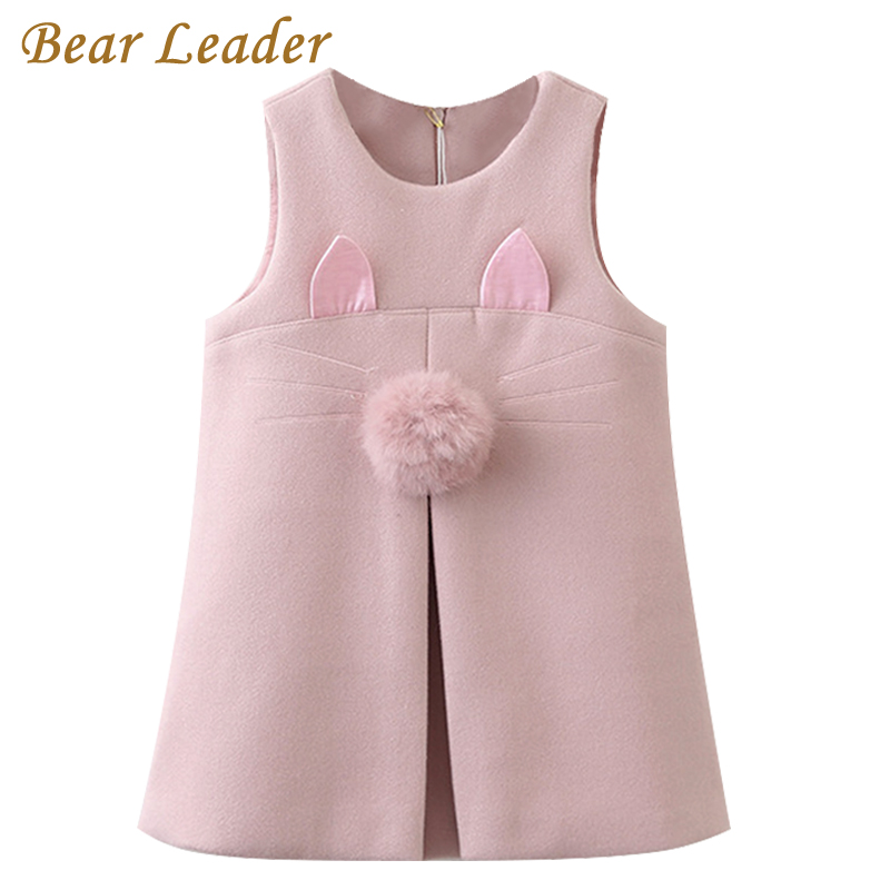 Bear Leader Girls Dress 2018 New Autumn Brand Girls Clothes Sleeveless Rabbit Ears With Fur Ball Accessories Children Clothing bear leader girls dress 2018 new spring brand girls clothes classical plaid fur ball bow design baby girls dress for 3 7 years