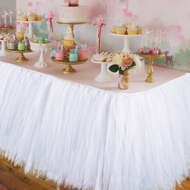 Wedding Party Tulle Tutu Table Skirt Birthday Baby Shower