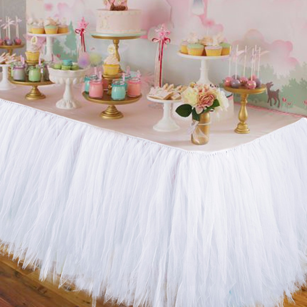 Birthday table decorations at home - Wedding Party Tulle Tutu Table Skirt Birthday Baby Shower Wedding Table Decorations Diy Craft Supplies Hot