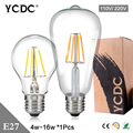 Retro Old Edison E27 G45/ A60/ ST64 Globe Filament Light Bulb 4W 8W 12W 16W Lamp Lampada Cool/Warm White Decor AC 220V/ 110v
