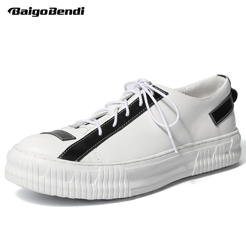2018 NEW Spring Men Genuine Leather Casual Shoes Black And White Thick Heel Oxfords Man Lace Up Leisure Shoes