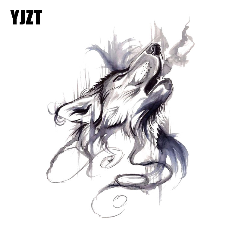 YJZT 10CM*13.4CM Ink Painting Howling Wolf Head PVC Motorcycle Car Sticker 11-00461
