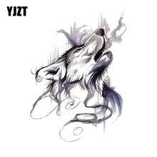 Yjzt 10 cm * 13.4 cm tinta pintura uivando lobo cabeça pvc carro da motocicleta adesivo 11-00461