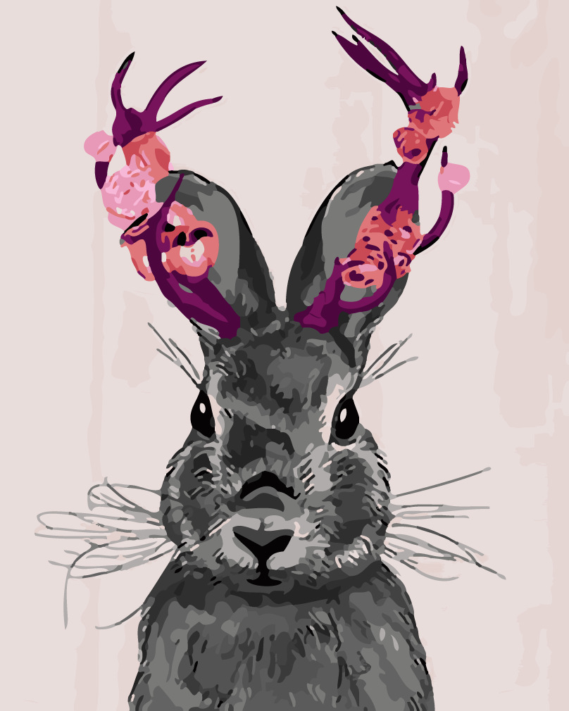 Coloring by numbers for rabbits - Black Rabbits Frameless Diy Painting By Numbers Hand Painted Canvas Modern Wall Picture For Living Room