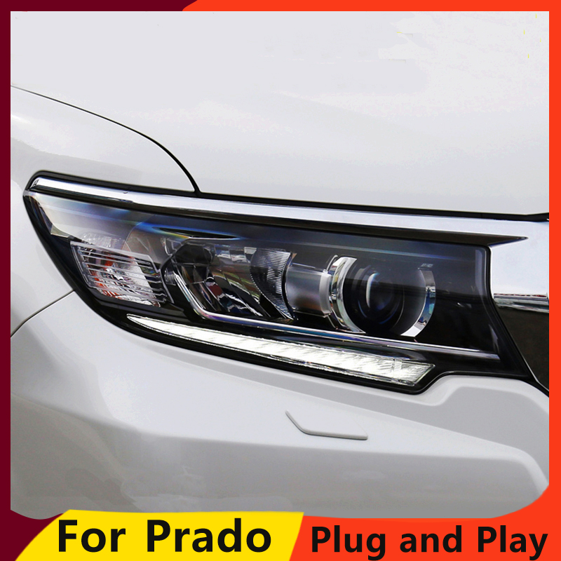 KOWELL Car Styling Head Lamp for Toyota Prado Headlights LED Headlight ANGEL EYES DRL High Low