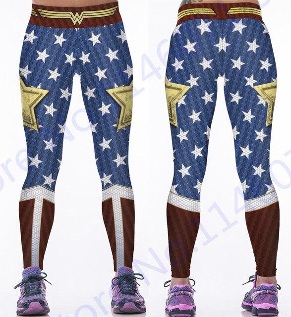 b7ffa333b8a65a Wonder Woman Yoga Hosen Gold Star Fitness Jogging Leggings Wonder Woman  Sport Strumpfhose Rot Blau Kompression