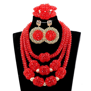 Fabulous red african beads Fashion Jewelry Sets 2017 Bridal Party Events Women Jewellery  Free Shipping JB075