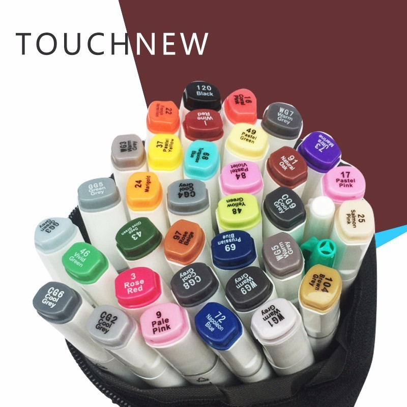 TOUCHNEW 30 40 60 80 168 Colors Markers Pen Painting Manga Art Marker Set Stationery Pen For School Sketch Markers touchnew t6 60 80 colors dual tips black barrel sketch markers grey bag for drawing painting design manga art supplies