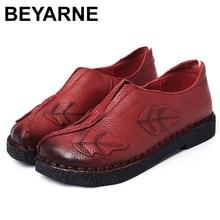 BEYARNE لينة اليد مخيط النساء أحذية جلدية موضة الأم أحذية عمل عادية مريحة الإناث تنفس حذاء مسطح E169