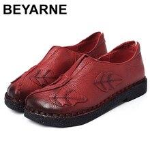 BEYARNE רך יד יד שנתפרה נשים נעלי עור אופנה נעלי עבודת אם מזדמן נוח נשי לנשימה שטוח נעלי E169