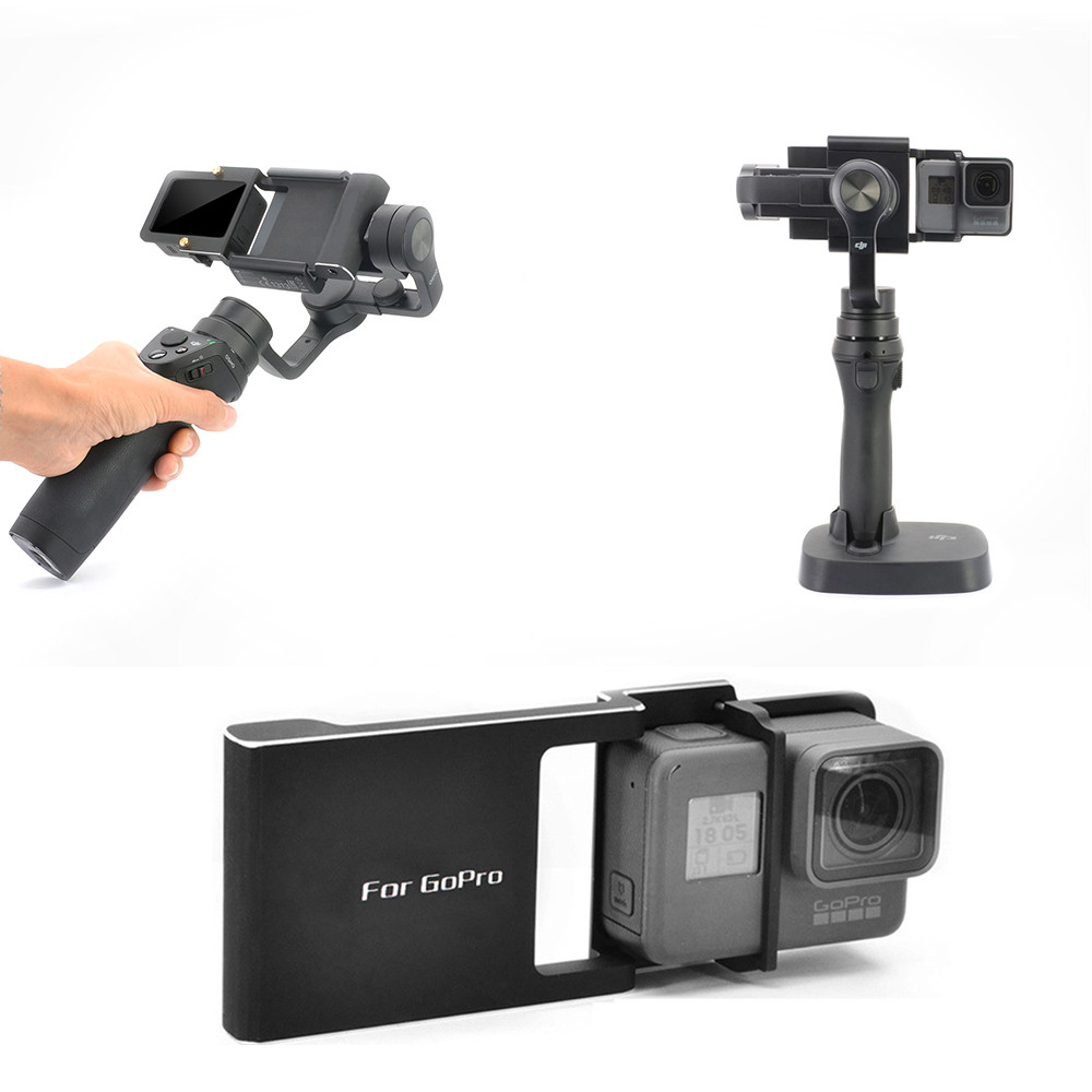 Switch Mount Plate Adapter For Gopro7 6 5 4 3 3+ xiaoyi For dji Osmo Mobile Zhiyun Z1 Smooth C R 2 II gimbal Camera Accessories-in Sports Camcorder Cases from Consumer Electronics