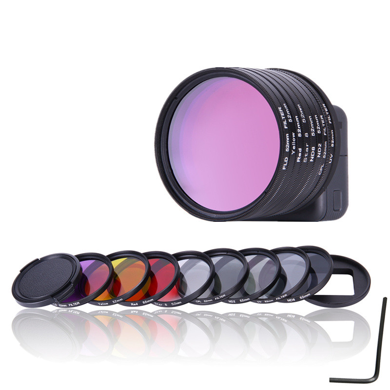 52mm UV CPL ND2 ND8 Star 8 Yellow FLD Purple Red Lens Filter Cap Adapter Ring For Gopro Hero 5 Go Pro GoPro5 Camera Accessories светофильтр polaroid uv cpl fld warming 52mm набор фильтров pl4fil52